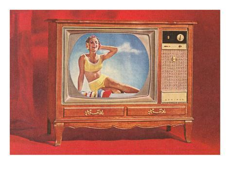 Woman in Yellow Two-Piece on TV Art Print
