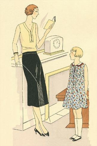 Woman Reading to Daughter Art Print