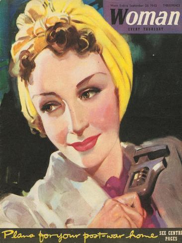 Woman, Women at War, Mechanics, WWII Magazine, UK, 1940 Giclee Print