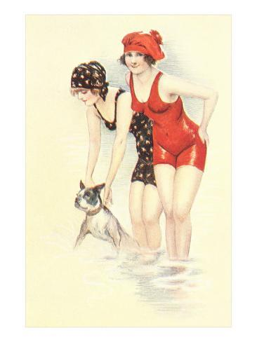 Women in Bathing Costumes with Terrier Art Print