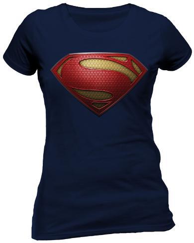 Women's: Man Of Steel- Textured Logo Womens T-Shirts
