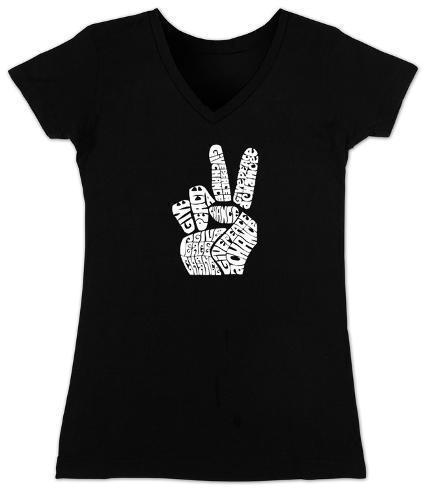 Women's: V-Neck- Give Peace a Chance Fingers Womens V-Necks