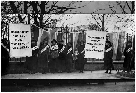 Women suffragists picketing in front of white house archival photo poster