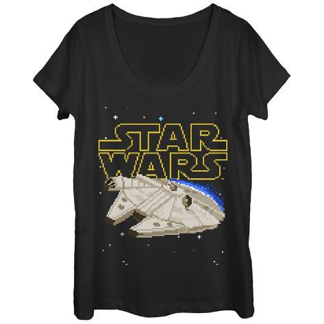 Womens: Star Wars- 8-Bit Falcon Scoop Neck Womens T-Shirts