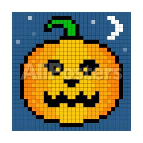 8 Bit Pixel Art Halloween Pumpkin Art By Wongstock At Allposters Com