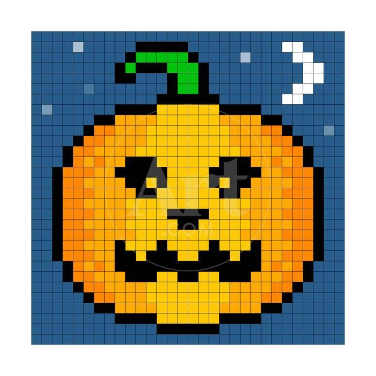 8 Bit Pixel Art Halloween Pumpkin