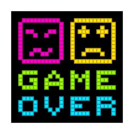 8 Bit Pixel Art Retro Arcade Game Over Message Eps8