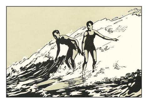 Woodcut of Two Surfers Art Print