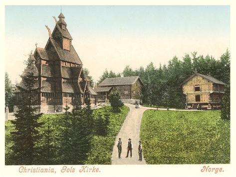 Wooden Church in Christiana (Oslo), Norway Art Print