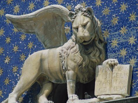 Close-Up of the Lion of St. Mark's Clock Tower in Venice, UNESCO World Heritage Site, Veneto, Italy Photographic Print