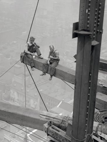Workers Sitting on Steel Beam Art Print