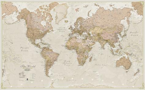 World Antique Megamap 1:20, Wall Map Jättijuliste