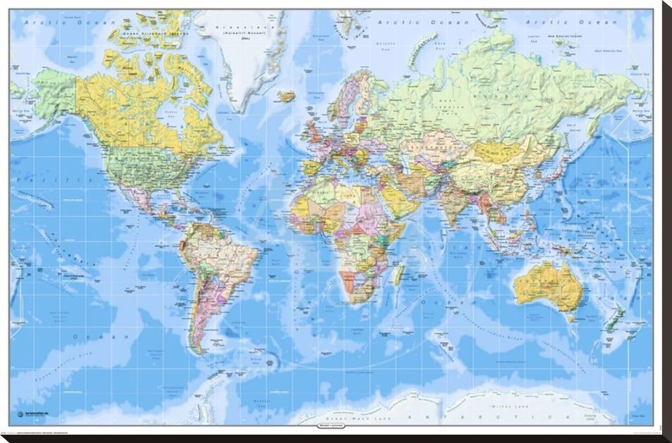 World map 2011 english stretched canvas print allposters gumiabroncs Image collections