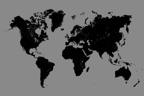 world map black and grey