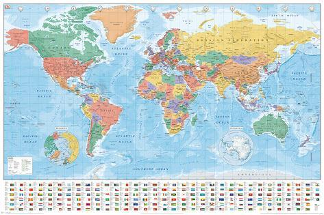 World map flags and facts pster en allposters world map flags and facts pster gumiabroncs Image collections