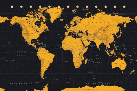 World map gold black posters allposters world map gold black gumiabroncs Images