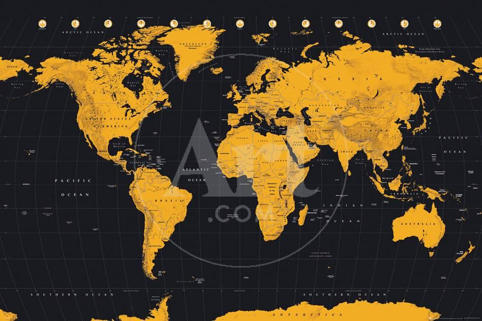 World map gold black pster en allposters gumiabroncs Image collections