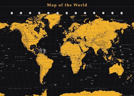 World Map Gold On Black Prints AllPosterscouk - Black and gold world map
