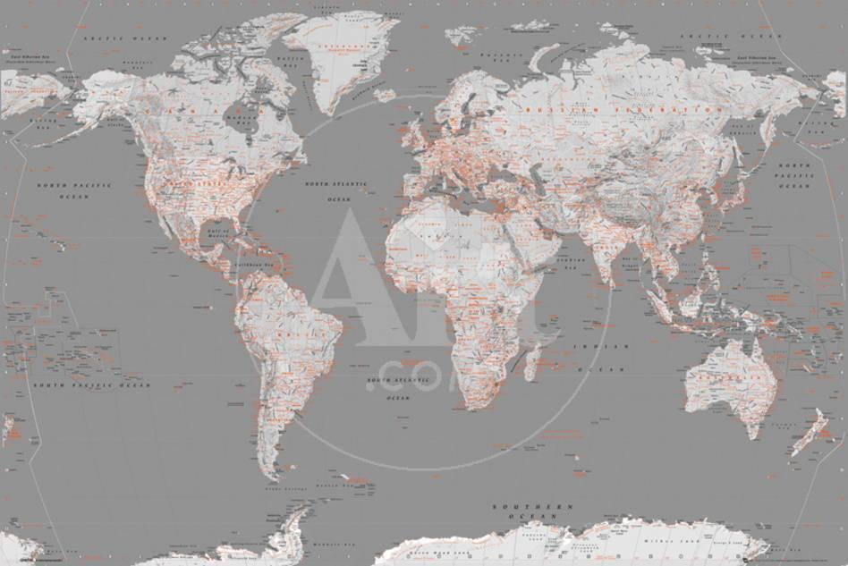 World map grey with orange prints allposters privacy preference centre gumiabroncs Choice Image