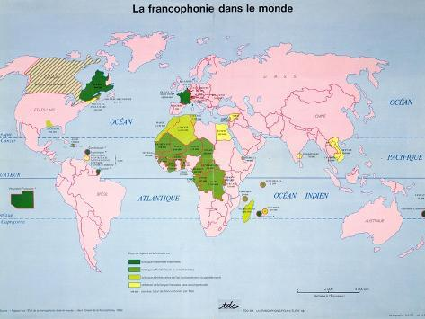 World map of french speaking countries 1985 giclee print at world map of french speaking countries 1985 gumiabroncs Choice Image