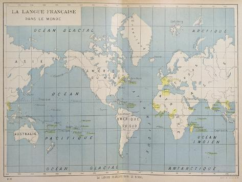 World map of french speaking countries early 20th century giclee world map of french speaking countries early 20th century gumiabroncs Choice Image