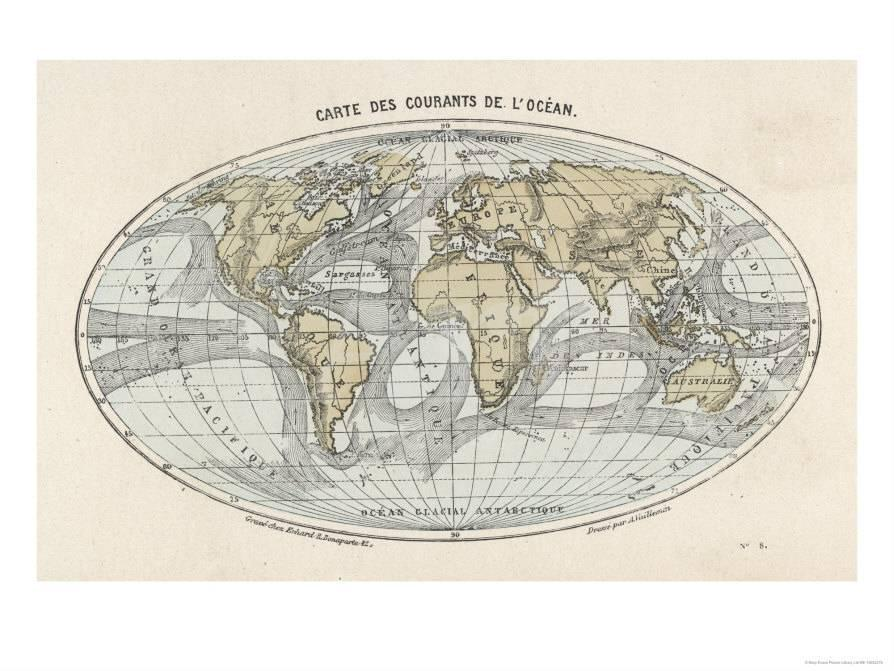 World Map With Currents.World Map Of The Ocean Currents Giclee Print At Allposters Com