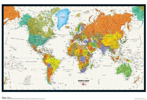 World map physical and political poster prints at allposters gumiabroncs Choice Image