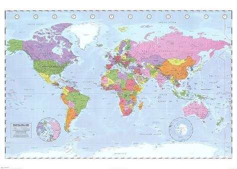 World Map (Political, Time Zones) Giant Poster