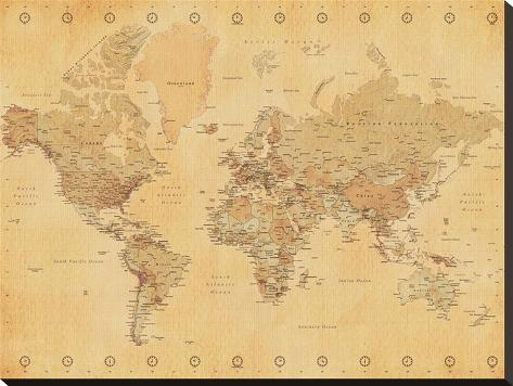 World map vintage style stretched canvas print allposters world map vintage style gumiabroncs Images