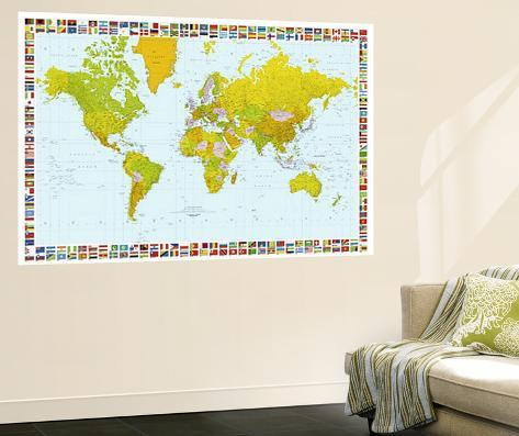 World map with flags mural wallpaper mural at allposters world map with flags mural gumiabroncs Choice Image