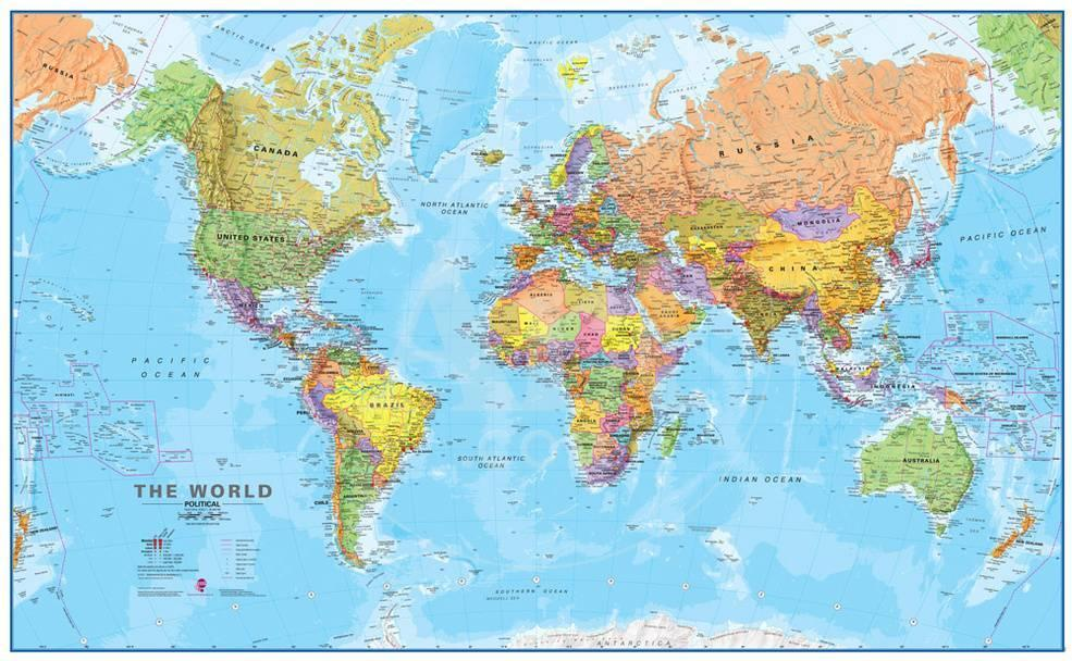 World MegaMap Wall Map Laminated Educational Poster Posters - Faded poster maps for sale us