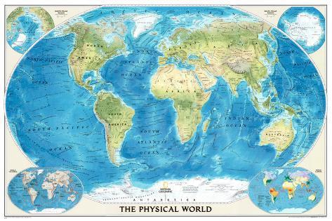 World Physical Map Of The Ocean Floor Print AllPostersca - World physical map printable