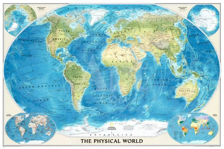 A Physical Map Of The World.World Physical Map Of The Ocean Floor Photo At Allposters Com