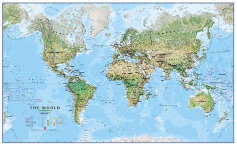 World Physical Megamap Laminated Wall Map Print AllPostersca - World physical map printable