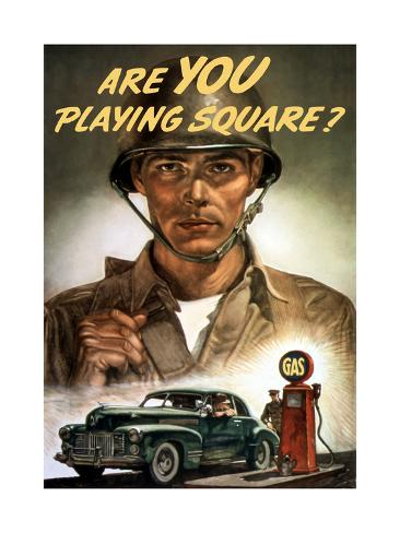 World War II Propaganda Poster Of A Soldier Overlooking Man At The Gas Pump