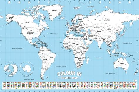 World map colour me in print by worldwide allposters world map colour me in gumiabroncs Gallery