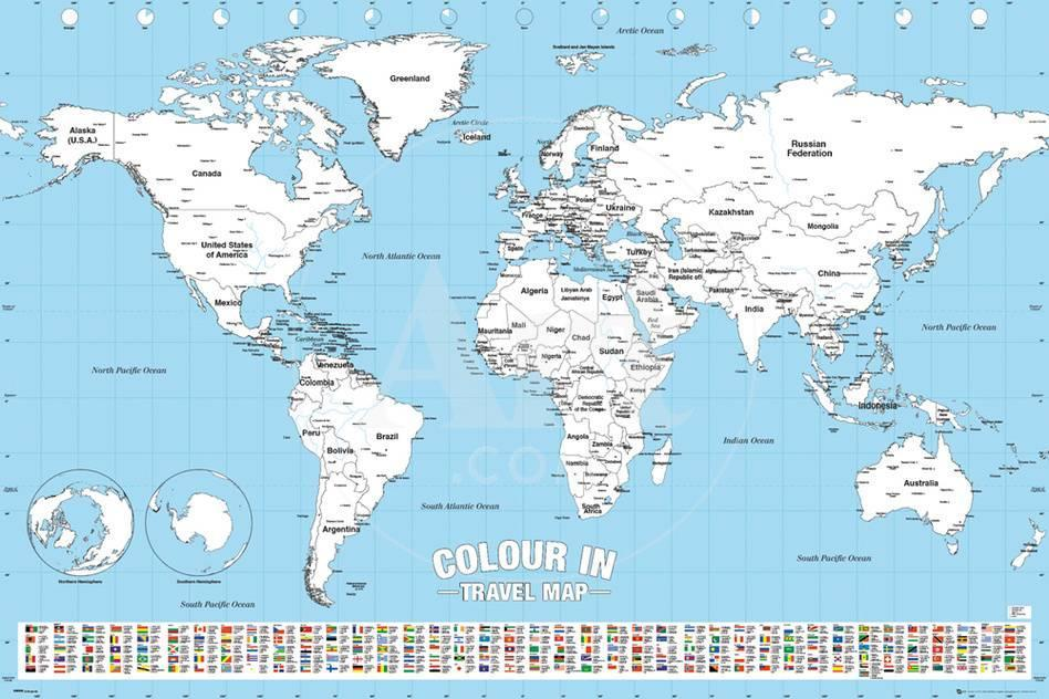 World map colour me in posters by worldwide at allposters true gumiabroncs Gallery