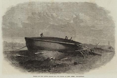 Wreck of the Lottie Sleigh on the Beach at New Ferry, Birkenhead Giclee Print