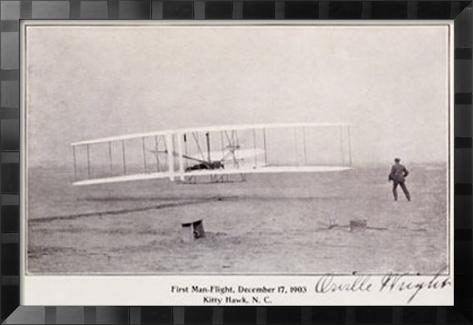 Wright Brothers Flight at Kitty Hawk Inramat gicléetryck