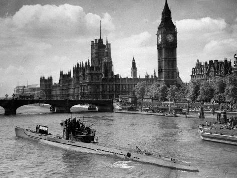 WWII London Thames U-Boat 1945 Photographic Print