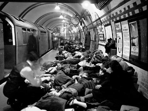 WWII Sheltering Piccadilly Photographic Print