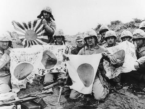 WWII U.S. Marines Capture Flags Photographic Print