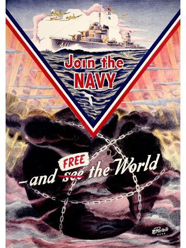 WWII US Navy 'Join the Navy' Mine sweeper Poster Giclee Print