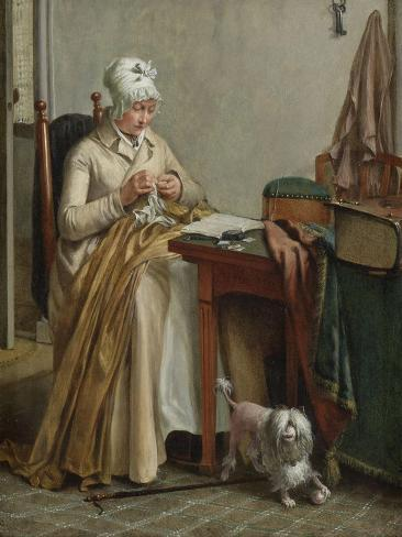 Interior with Woman Sewing Art Print