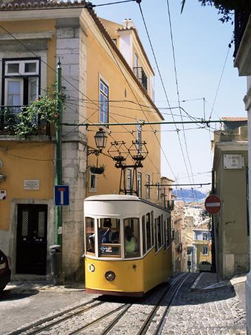 Funicular at Elevador Da Bica, Lisbon, Portugal Photographic Print