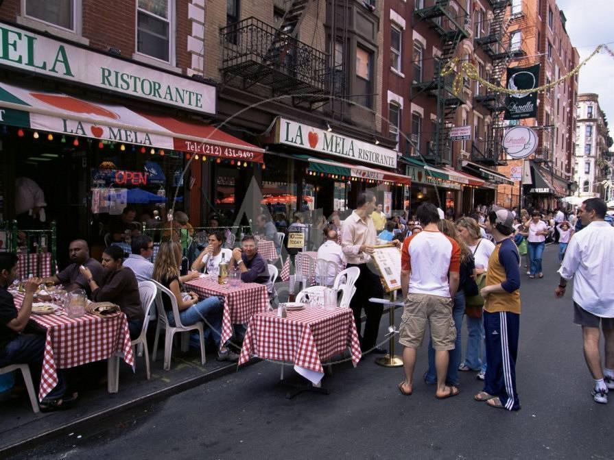 People Sitting At An Outdoor Restaurant Little Italy Manhattan New York State Photographic Print By Yadid Levy Allposters