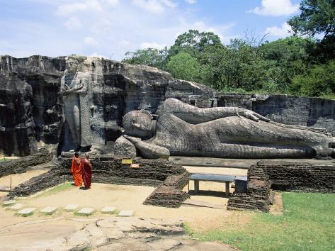 Two Monks in Front of Buddha Statue, Gal Vihara, Polonnaruwa, Unesco World Heritage Site, Sri Lanka Photographic Print
