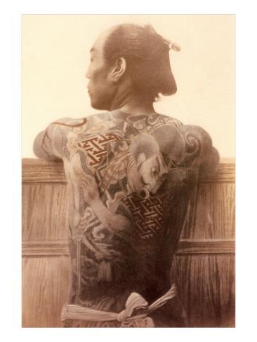 Yakuza with Tattooed Back Art Print