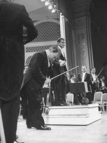 Music Conductor Leonard Bernstein Premium Photographic Print