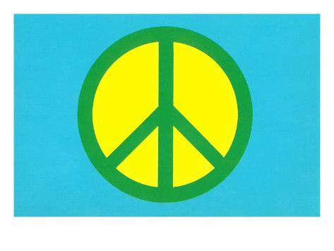Yellow Green and Blue Peace Sign Art Print